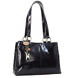 Catwalk Collection Handbags - Leder - Umhängetasche/Große Tasche - BELLSTONE - Schwarz