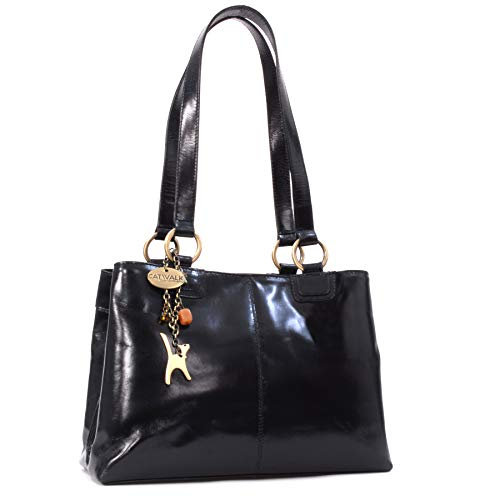 CATWALK COLLECTION - BELLSTONE - Bolso al hombro estilo shopper - Cuero vintage - Grande - Negro