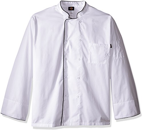 Double Breasted Drop (Dickies Chef Men's Unisex Cool Breeze Coat with Piping, White/Black, 5X-Large)