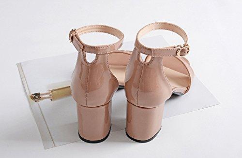 Wealsex damen sandalen blockabsatz high heels mit Schnalle Pink