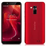 Fulltime E-Gadget Smartphone,Entsperrt Excelay Q13Android 8.1 Smartphone Quad Core 1 GB RAM + 16 GB ROM Handy GPS 5MP Dual-SIM Handy (Rot)