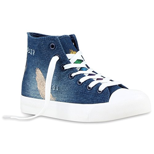 Modische Denim Damen Sneakers High Metallic Canvas Schuhe Dunkelblau