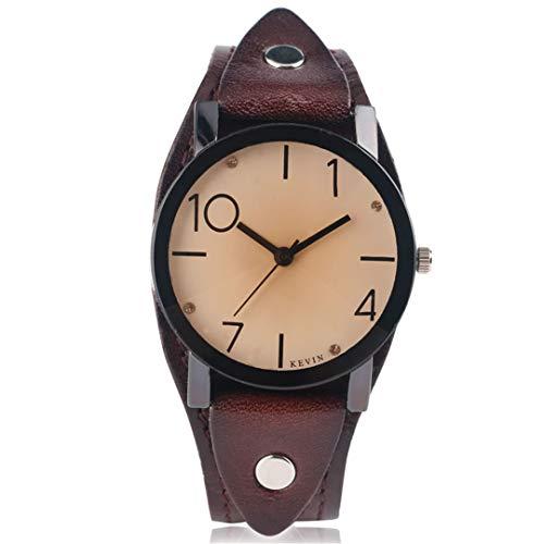 Rot Uhren Damenmode Uhr Quarz Leder Armbanduhr Mode Elegante Mode Vintage LäSsig Kristall Femme Hour Brown -