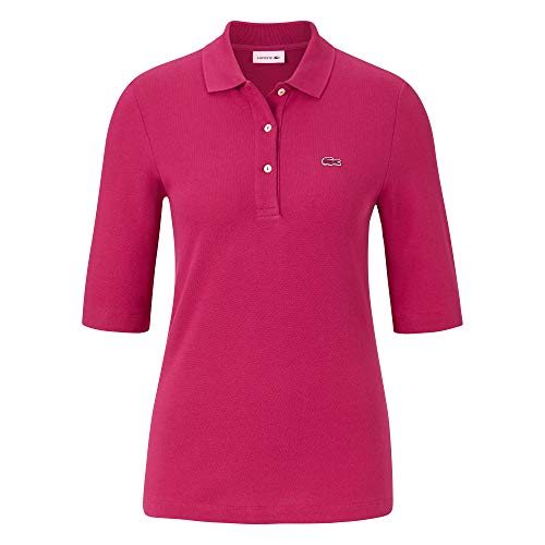 Lacoste Damen Polo Shirt Kurzarm PF5381,Frauen Polo-Hemd,3 Knopf,Regular Fit,Fairground PINK(3DH),34 EU