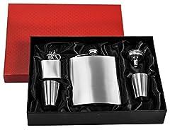 Idea Regalo - eyepower Fiaschetta in acciaio inox 210 ml + imbuto + 4 bicchieri + portachiavi + elegante confezione regalo | Fiasca di metallo inossidabile 0,2l 7oz