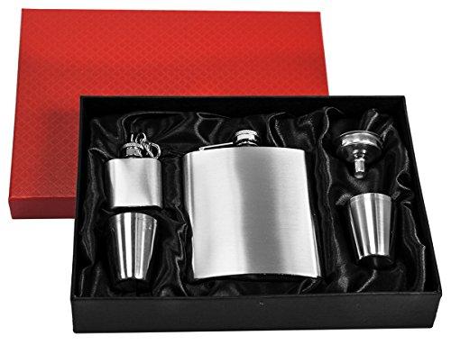 Eyepower Flachmann-Set Geschenkbox Edelstahl 210 ml Trichter, 4 Bechern, Schlüsselanhänger Silber
