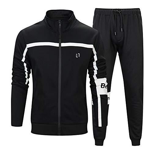 MANLUODANNI Herren Athletic Full Zip Fleece Trainingsanzug Sport Sets Casual Sweat Suit - - Groß Fleece Full Zip Suit