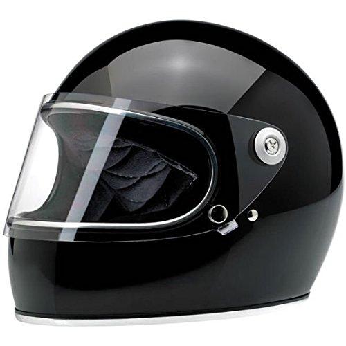 Biltwell Gringo S - Casco integral de moto, de color negro brillante, talla S, con visera incorporada. Estilo vintage, de la vieja escuela. Homologación DOT para Café Racer, Scrambler.