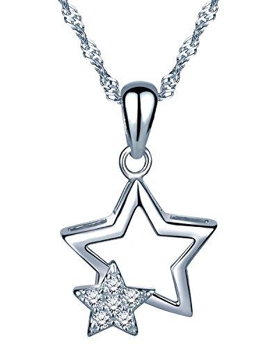 Unendlich U Fashion Doppel Sterne Damen Mädchen Halskette 925 Sterling Silber Zirkonia Anhänger Kette mit Anhänger, Silber