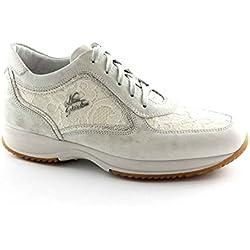 NERO GIARDINI 15126 bianco safari scarpe donna sportive sneakers pizzo zeppetta