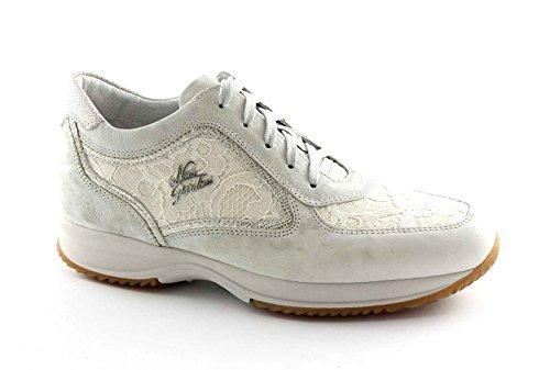 NERO GIARDINI 15126 bianco safari scarpe donna sportive sneakers pizzo zeppetta Bianco