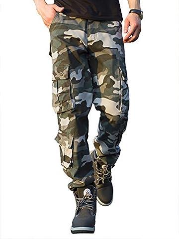Cargohose Herren Arbeitshose Stretch cargo pants loose casual mit Mehrere Tasche Camouflage Sport,Arbeit,Freizeit,grau,54,2XL