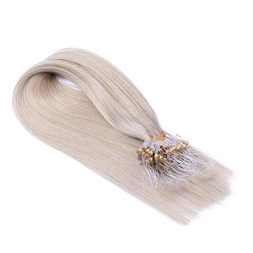 Micro-Ring / Loop Hair Extensions (#GRAU - 50 cm - 200 Strähnen - 0,5g) 100% Remy Echthaar Haarverlängerung Micro Ring Remy Qualität, ganz leicht einzusetzen - by Haar-Profi - Loops Micro Ringe