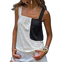 GRMO Womens Summer Straps Splicing Sexy Contrast Sleeveless Tank Top Cami Blouse Shirt Black 4XS