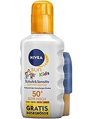 NIVEA SUN Sonnenspray für Kinder, Lichtschutzfaktor 50+, plus Gratis-Reisegröße, Sprüh-Flasche, Kids Sensitive, 1er Pack (1 x 200 ml)
