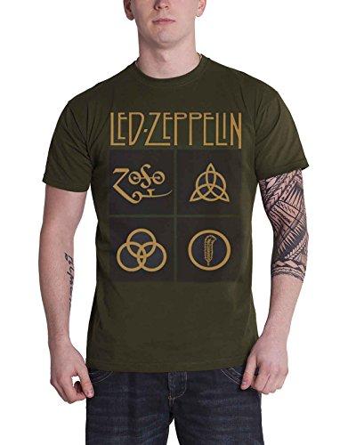 LED Zeppelin T Shirt Gold Symbols In Schwarz Squares Nue offiziell Herren