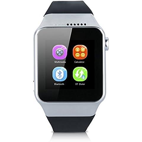 Excelvan Bluetooth Smart Watch Intelligente Orologio con Fotocamera Sbloccato SIM Watch Phone Sync Chiamata Musica Promemoria Anti-perso Telefono Compagno per Android IOS Argento