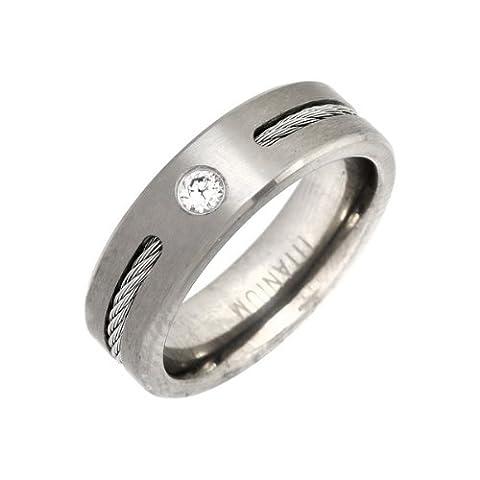 Theia Unisex-Ring Titan Flach Court CZ Matt und Seile 6mm - Gr. 65 (20.7) TH2564