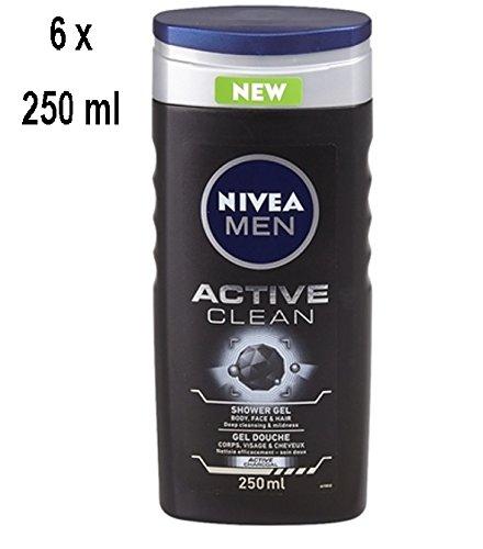 """6 x Nivea Duschgel Men """"Active Clean"""" - 250 ml"""