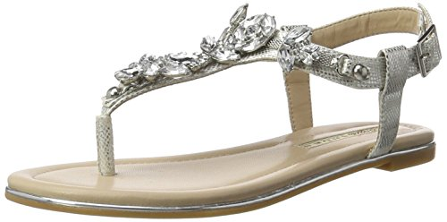 Buffalo Shoes Damen 14S07-21 Metallic PU Zehentrenner, Silber (Silver), 38 EU