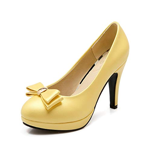 TXHLKD Neue große Größe 31-43 Spring Spike High Heels Bonbonfarben Damen Schuhe Damen Pumps Sweet Bow Platform Damen Schuhe 7.5 Gelb Spike Heel High Platform Schuhe