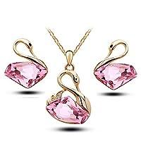 Classic Swan Pendant Pink Crystal Necklace & Earrings Set - Swarovski Elements Jewelry Set