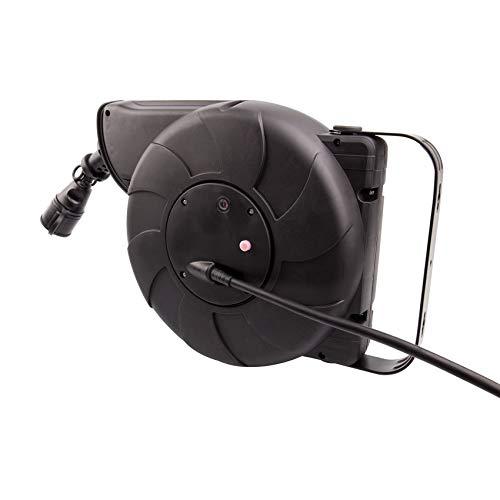 Carrete de Cable Rebobinado Automático 11m + 2m IP44 para Pared Negro...