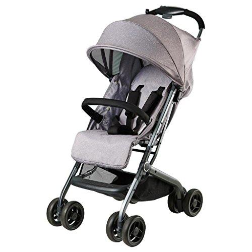 PLDDY landaus Chariot de bébé peut s'asseoir parapluie horizontal portable pliant nouveau-né quatre saisons Universal voyage ombre une main pliage en option 3 couleurs (Couleur : Silver grey)