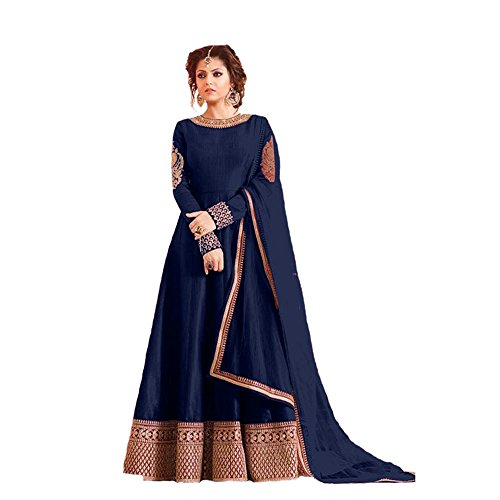 Vaankosh Fashion Women\'s Heavy Tapeta Silk Embroidered Semi-stitched BlueFloor length Anarkali Suit - Dress Material