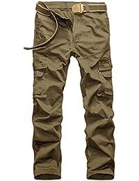 ZKOO Herren Freizeithose Wasserwäsche Cargohose Mehrere Tasche Hosen Aus Baumwolle Loose Military Freizeithose Outdoor Arbeitshosen