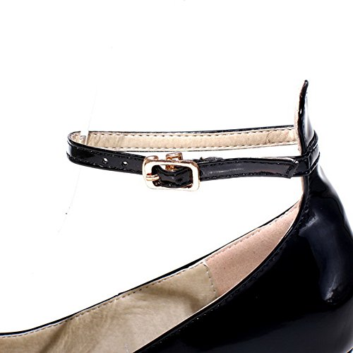 VogueZone009 Femme Couleur Unie Verni à Talon Correct Boucle Rond Chaussures Légeres Noir