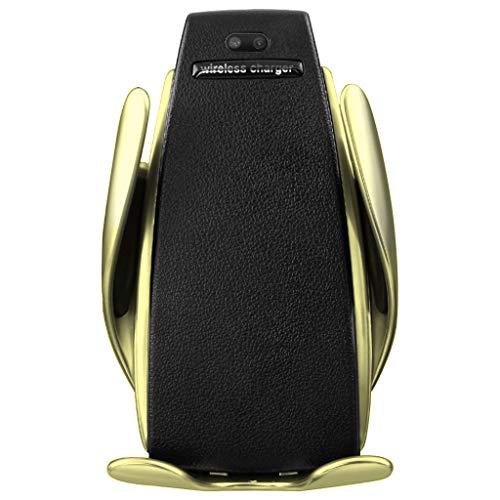 es Klemmendes Schnelles Drahtloses Charger Qi-Auto Ladegerät Ladestation für iPhone für Samsung (Gold) ()