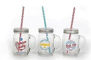 Pot en verre transparent imprimé Boisson 23x 7cm poignée et Candy Stripe paille Lot de 3