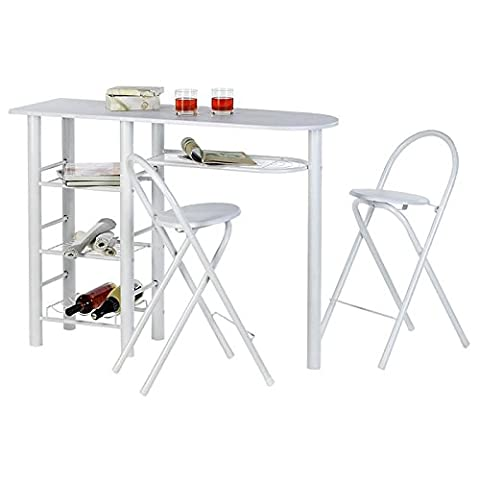 Ensemble table haute de bar mange-debout et 2 chaises STYLE MDF blanc