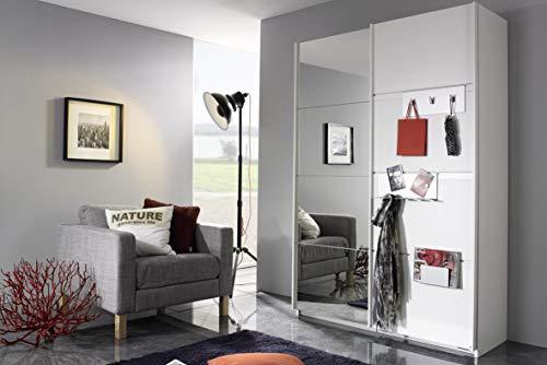 Rauch Möbel Steinheim Schwebetürenschrank mit Spiegel inklusive Garderoben-Accessoires aus Metall, 2-türig, Zubehörpaket Basic 7 Einlegeböden, 1 ausziehbarer Kleiderbügel, weiß, 59 x 137 x 197 cm