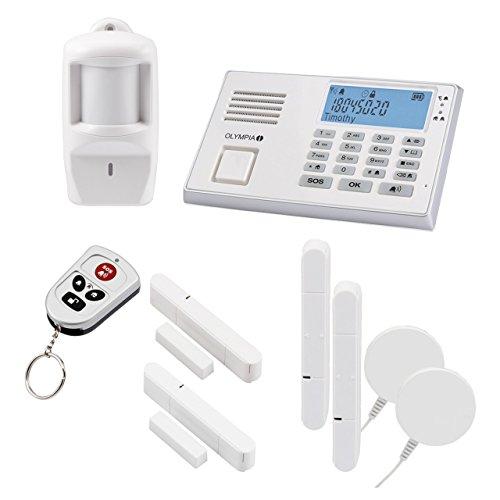 Olympia Protect 9061 Alarmanlage in Weiß GSM Funk Set 1 x Bewegungsmelder 2 x Glasbruchmelder 2 x Tür/Fensterkontakte und Fernbedienung