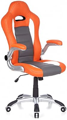 hjh OFFICE 621700 RACER SPORT Silla gaming y oficina, naranja / blanco