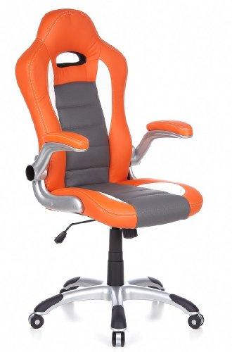 HJH Office 621700 Racer Sport Siège de bureau pivotant Simili cuir Orange/Blanc