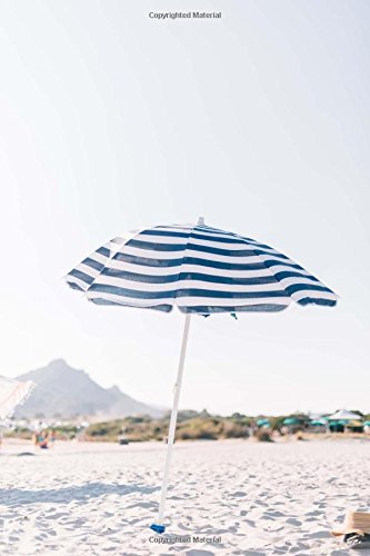 A Charming Blue and White Striped Beach Umbrella Vacation Journal: 150 Page Lined Notebook/Diary