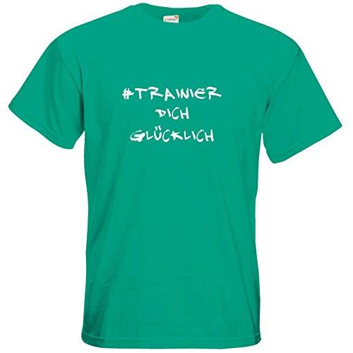 getshirts - Station B3.1 - T-Shirt - #trainierdichglücklich weiß Pacific Green