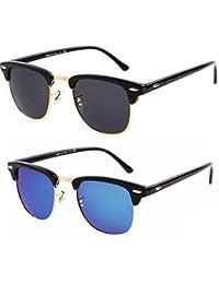 Dervin Combo Of 2 Black Golden Frame Black Blue Lens Wayfarer Sunglasses For Men & Women