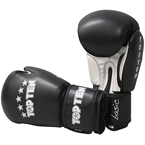 TOP Ten Boxhandschuhe, R2M, schwarz-weiß, 10 Oz