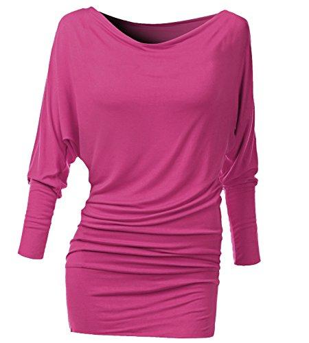 Damen Frauen Langarm Fledermaus Top - Blusen, Tunika, Shirt, Cowl Neck Tops - Batwing Top - Off Shoulder - Basic TShirt - Basis Bluse - Pink (Damen Neck Cowl Shirt)