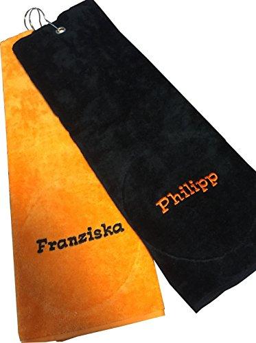 Golf-Handtuch | Golftuch | bestickt mit deinem Namen | 45x45 cm verschiedene Farben (Black)