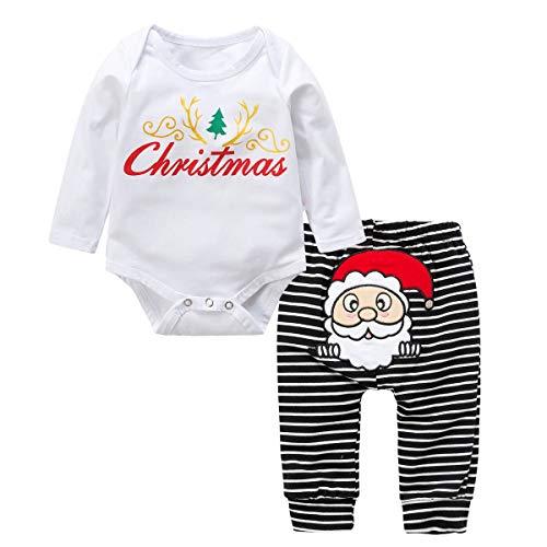 Baywell Baby Kleinkind Jungen Grils Kleider Set, Weihnachten Outwear Langarm Spielanzug & Gestreifte Hosen (XS/60/3-6 Monate, Weiß) -