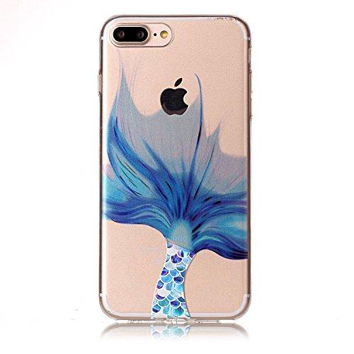 iPhone 7 Plus Hülle, iPhone 7 Plus Hülle Transparent, iPhone 7 Plus Hülle TPU Case Schutzhülle Silikon Case, Cozy Hut ®[Liquid Crystal] 3D Romantik Flower Animal Cartoon Series Transparent Weiche Sili Meerjungfrau