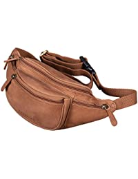 STILORD 'Eliah' Riñonera o Bolsa de Cuero Vintage Bolso de Cintura Cadera o cinturón para Hombre y Mujer para Deportes Running Fiestas Ocio o Aire Libre
