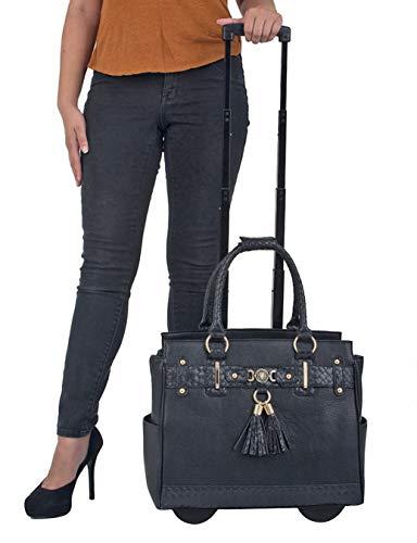 JKM und Company der Berkeley schwarz kompatibel mit Computer iPad, Laptop Tablet Rolling Tasche Aktentasche Reisetasche oder Overnighter Tasche