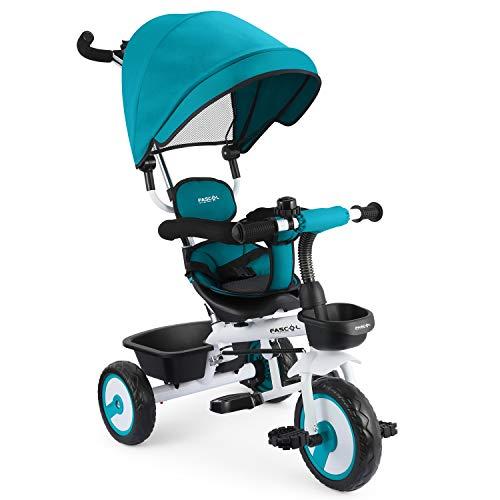 Fascol 4 in 1 Triciclo Passeggino per Bambini Triciclo con Sedile Girevole e Tenda da Sole Regolabile Adatto per età 12 Mesi - 5 Anni (Blu)