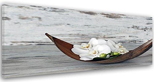 Feeby Frames Tableau imprimé XXL, Tableau imprimé sur Toile, Tableau Deco, Canvas 50x150 cm, Fleur, Une Orchidée, Zen, Rustique, Blanc, Brun